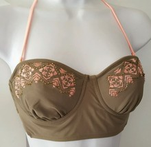 Candies Swim Women Junior Bikini Halter Underwire Push-Up Top Tan Coral Swimsuit - $9.99