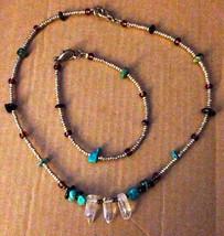 Vintage 1970s Crafted Silver Turquoise Amber Lapis Quartz Necklace Brace... - $52.92