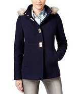 Maralyn & Me Juniors Navy Hooded Faux Fur-Trim Coat M - $44.54