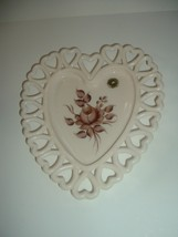 Westmoreland Almond Heart Dish Hand Painted Artist Signed Augustine 1980 - $29.99