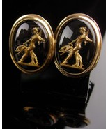 Art Deco Nude Cufflinks - Saluki dog - Artemis Diana - Erotic black  gla... - $225.00
