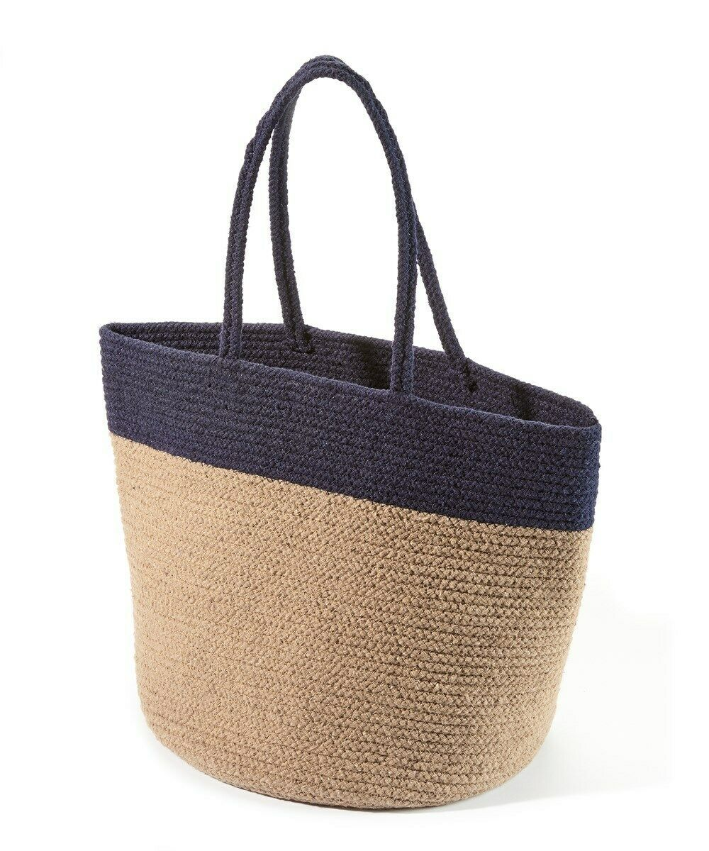 "Oversize Tote Bag Superior Eco-friendly Neutral Two-Tone  Navy & Tan  21"" x 14"""