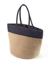 "Oversize Tote Bag Superior Eco-friendly Neutral Two-Tone  Navy & Tan  21"" x 14""  image 1"
