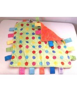 Taggies Green Orange Polka Dot Fleece Baby Security Blanket Lovey Satin ... - $13.82