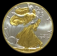 2016 American Silver Eagle Ounce ASE with 24k Gold Gilded both sides OZ - $72.00
