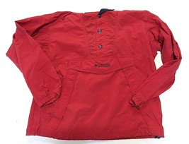 90s Columbia Anorak Red Windbreaker 1/2 Button Hooded Pullover Jacket Sz... - $59.35
