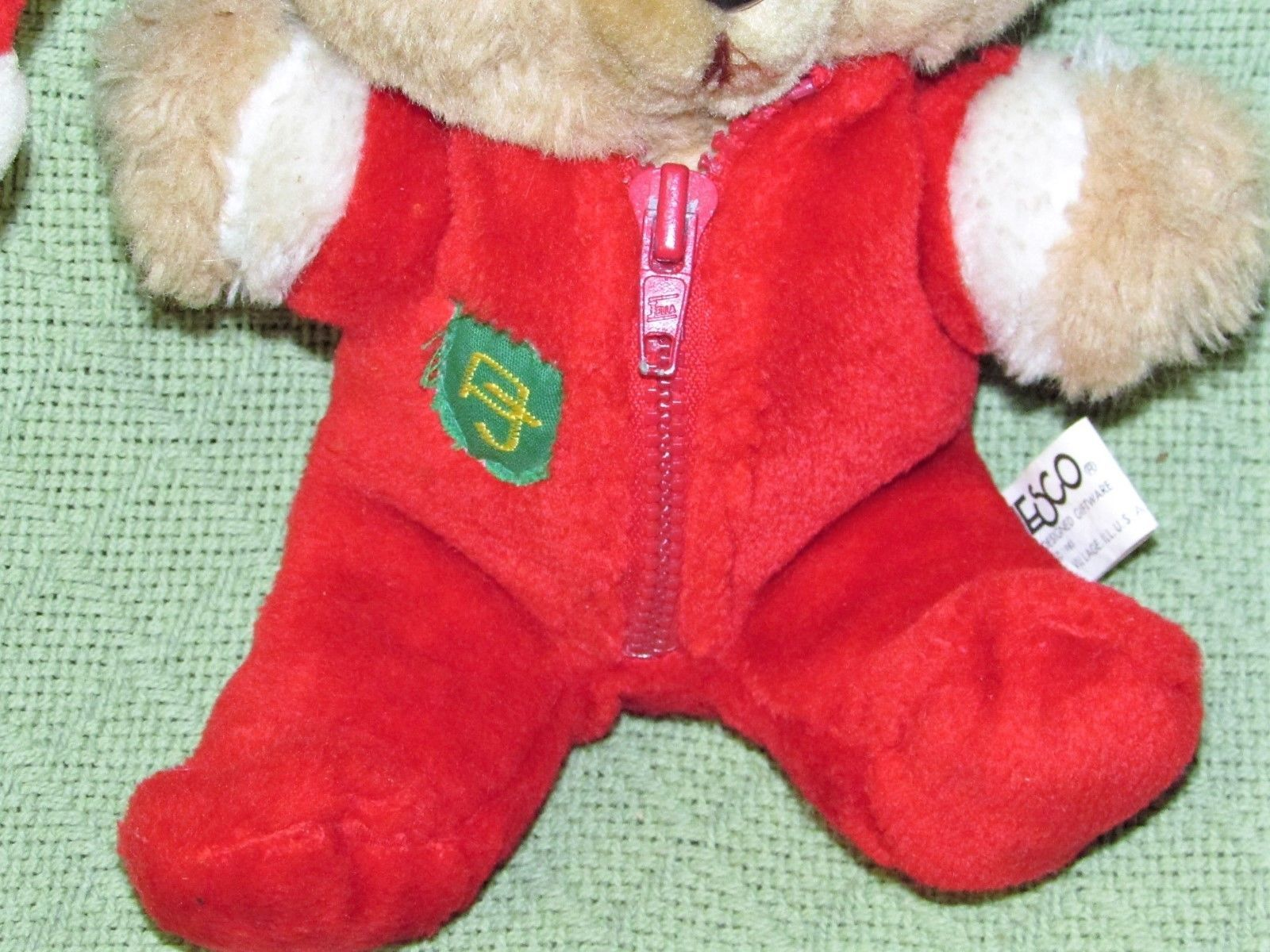 "10"" Vintage ENESCO PJ TEDDY Plush Bear BABY'S FIRST CHRISTMAS Stuffed KOREA RARE image 3"