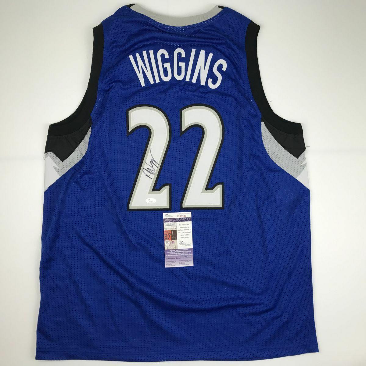 Autographed/Signed ANDREW WIGGINS Minnesota Blue Basketball Jersey JSA COA Auto