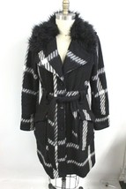 CANDIE'S B&W PLAID COAT J W FAUX FUR Juniors XL Flattering Style Wool Blend - $34.00