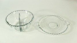 Candlewick Imperial Glass Divided Serving Dish Bowl with Tray Clear - $9.85
