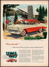 Vintage magazine ad CHEVROLET from 1956 Two Ten 2 Door Sedan in red and white - $12.99