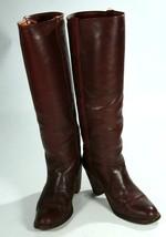 Vintage Frye Burgundy Leather High Heel Ladies Campus Riding Boots 7 1/2 B - $1.563,28 MXN
