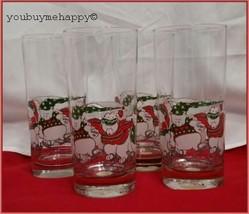 Set of 4 Princess House Ice Skating Christmas Bears Highball Tom Collins Glasses - $49.50