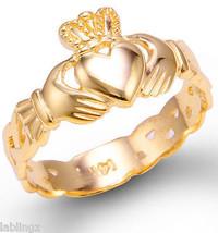 Mujer Oro Amarillo CLADDAGH ANILLO CON Celta Banda 10 Quilates 14k - $149.98+
