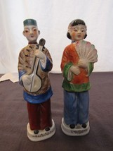 """Vtg Hand Painted Chinese Lady Fan Man Instrument Figurines Statues 8"""" Pair - $24.87"""