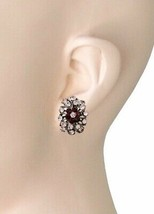"1"" Long Rose Lavender Purple Plum Acrylic Rhinestones Small Clip On Earrings  - $13.30"