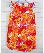 Hanna Andersson Dress Summer Sleeveless Floral Orange Red Daisy Sz 120/6... - $19.80