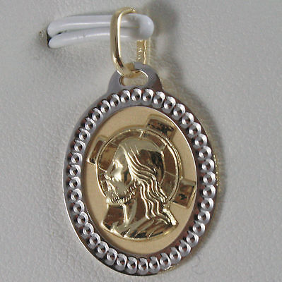 SOLID 18K WHITE YELLOW GOLD MEDAL FACE OF JESUS CHRIST ENGRAVABLE MADE IN ITALY