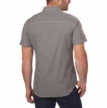 NEW G.H. Bass & Co. Men's Short Sleeve Crosshatch Woven Shirt - Pewter image 2