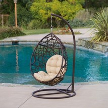 Brown Swinging Chair Wicker Tear Drop Sturdy Ir... - $356.39