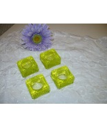 Vaseline Glass Cellar Salts Set Four Vintage Table Setting Condiments Ex... - $125.00