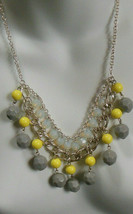 Signed NWT Silver-tone Yellow, Grey, Iridescent Bead Dangle Chain Necklace  - $22.28
