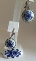 Vintage Delft Holland Ceramic Pin Screwback Earring Set Flower Design - $19.29