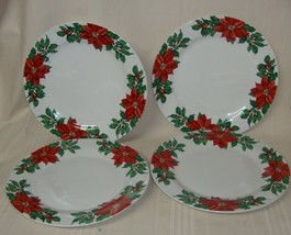 "Hallmark Christmas Poinsettia Dinner Plates 10.5"" Porcelain China Lot 4 ... - $34.64"
