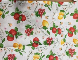 "Thin Fabric Kitchen Apron (18""x 30"") 3 FRUITS: APPLES, LEMONS & GRAPES b... - $9.89"
