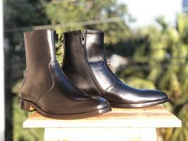 Men's Handmade Black Color Ankle High Boots, Men's Side Zipper Leather B... - £121.79 GBP+
