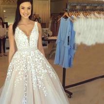 V Neck Floor Length Applique Open Back A Line Backless Bridal Gown image 6