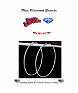 """CHEAP GIGANTIC Circle 4"""" Polished Round Hoop Earrings Silver Plate US SE... - $9.99"""
