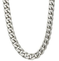 """SOLID BRASS BIG 13mm CUBAN CURB GOURMETTE WHITE CHAIN, NECKLACE 50cm, 20"""" image 1"""