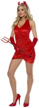 Sexy Red Velvet Devil Costume Headband Horns Gloves Womens Medium 8-10 - $19.79