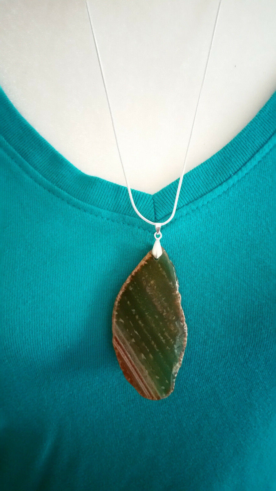 Necklace, Natural Slice of Agate Browns 24 inch 925 Sliver Chain Marked Boho