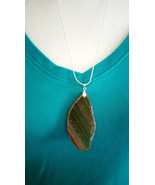 Necklace, Natural Slice of Agate Browns 24 inch 925 Sliver Chain Marked ... - $12.86
