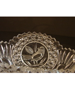 Hofbauer Byrdes Birds Design MEDIUM BASKET METAL HANDLE Lead Crystal Ger... - $18.99