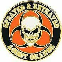 AGENT ORANGE SPRAYED AND BETRAYED SKULL BIKER MOTORCYCLE LAPEL PIN - $15.33