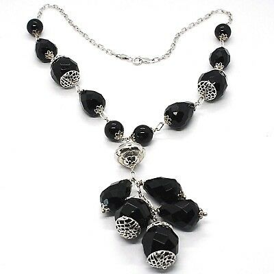925 silver necklace, black onyx round, drop, pendant cluster