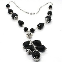 925 silver necklace, black onyx round, drop, pendant cluster image 1
