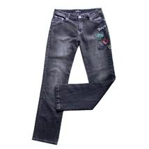 PLATINUM PLUSH Size 9 Embellished Jeans Stretch Denim Mid Rise Skinny Le... - $20.84