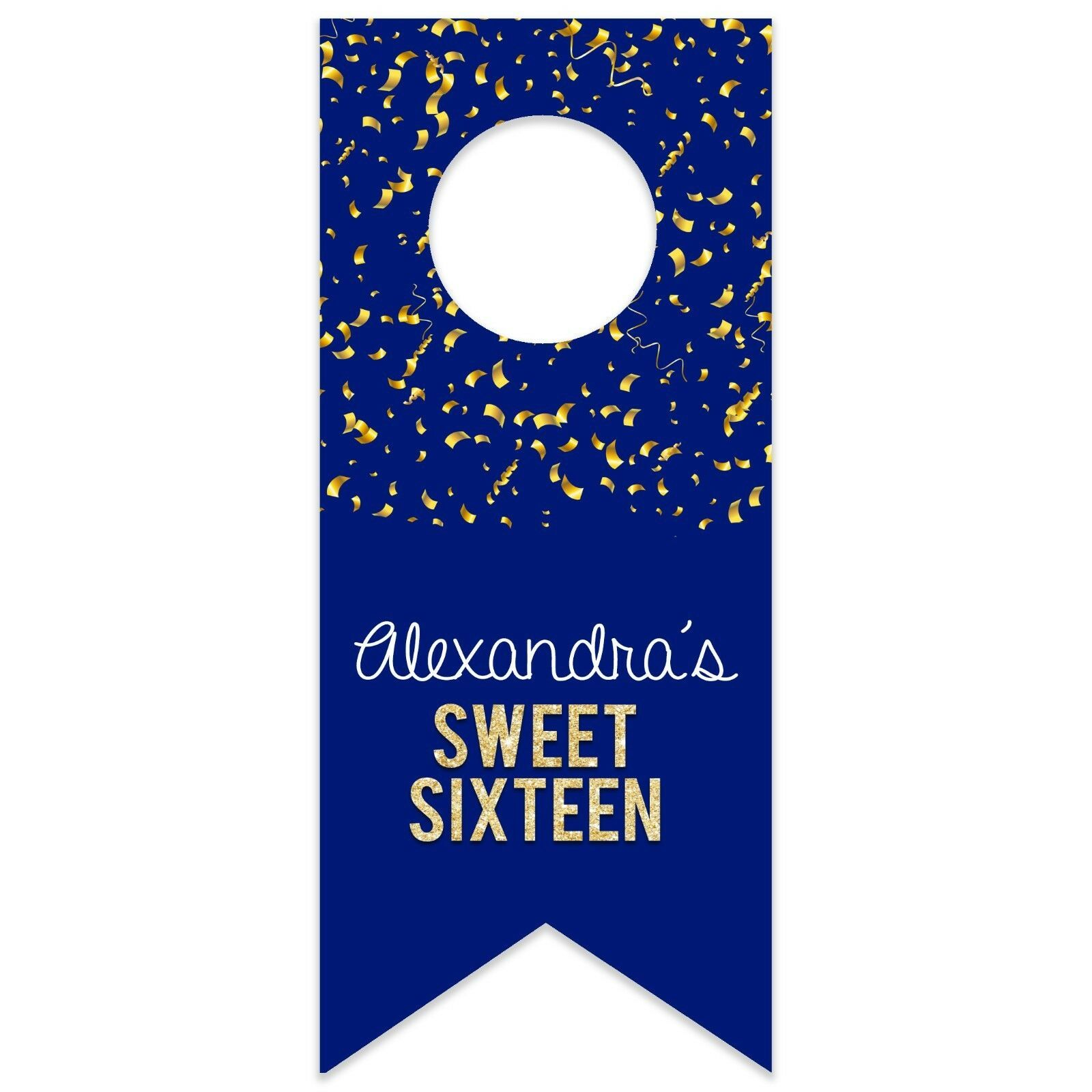 Sweet 16 Confetti Personalized Water Bottle Hang Tag