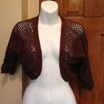 NWT Talbots Brown Beaded Shawl Short Sleeve Bolero Shrug Cardigan Sweate... - $28.93