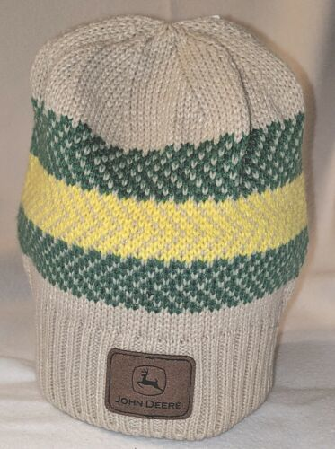 John Deere LP67786 Acrylic Knitted Tan Green And Yellow Beanie