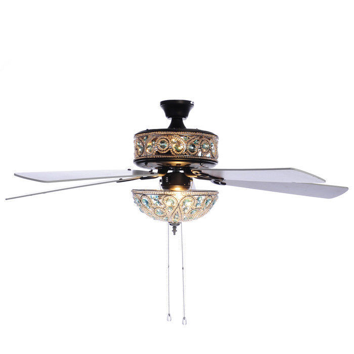 """River of Goods 50"""" Chandelier Crystal Turquoise Ceiling Fan w/ Remote"""