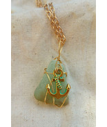 Ever Afloat necklace: blue Hawaiian sea glass set in golden wire & ancho... - $34.00