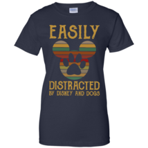 Easily Distracted By Disney And Dogs G200L Navy Ladies Cotton TShirt - $24.00+