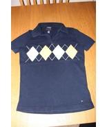 W8377 Womens TOMMY HILFIGER Navy Blue Pima Cotton ARGYLE SWEATER Polo Sh... - $12.60