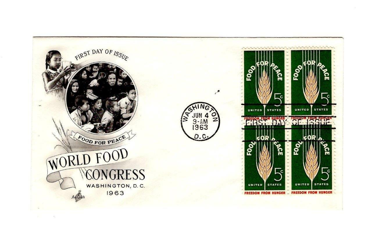 FDC ENVELOPE-FOOD FOR PEACE-WORLD FOOD CONGRESS BL 4 -1963 ART CRAFT CACHET BK12