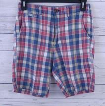 American Eagle Bermuda Shorts Men's Size 28 Red/Blue Soft Plaid  (p1) - $16.99